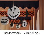 halloween  decoration and party ...   Shutterstock . vector #740703223