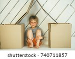 smiling kid boy with rosy... | Shutterstock . vector #740711857
