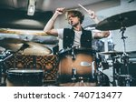 repetition of rock music band.... | Shutterstock . vector #740713477