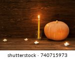 happy thanksgiving day... | Shutterstock . vector #740715973