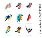 different birds set  lilac... | Shutterstock .eps vector #740717137