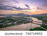 aerial scene of taipei city by... | Shutterstock . vector #740719903