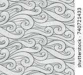 abstract colorful curly lines... | Shutterstock .eps vector #740721433
