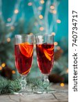 christmas hot mulled wine with... | Shutterstock . vector #740734717