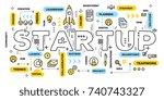 startup technology concept.... | Shutterstock .eps vector #740743327