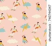 skateboarding seamless pattern... | Shutterstock .eps vector #740744347