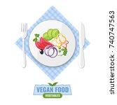 plate of fresh vegetable salad... | Shutterstock .eps vector #740747563