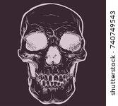 human skull vector art. hand... | Shutterstock .eps vector #740749543