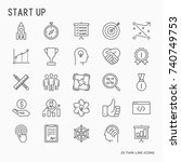 start up thin line icons set of ... | Shutterstock .eps vector #740749753