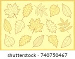 vintage artistic set of autumn leaves silhouettes