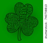 irish shamrock vector art with... | Shutterstock .eps vector #740758813