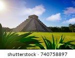chichen itza pyramid el templo... | Shutterstock . vector #740758897