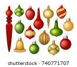 set of vector christmas balls.... | Shutterstock .eps vector #740771707