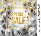 special sale poster gray and... | Shutterstock .eps vector #740772403