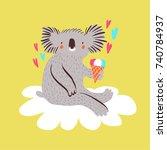 cute baby koala with ice cream... | Shutterstock .eps vector #740784937
