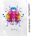 monotype vivid colorful beetle... | Shutterstock .eps vector #740784997