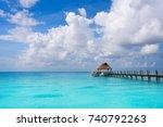 cozumel island beach pier in... | Shutterstock . vector #740792263