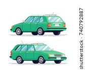 cool vector transportation flat ... | Shutterstock .eps vector #740792887