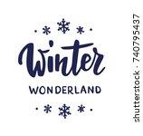 winter wonderland text  hand... | Shutterstock .eps vector #740795437