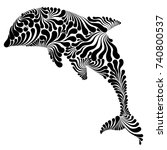 dolphin in the jump decorative...   Shutterstock .eps vector #740800537