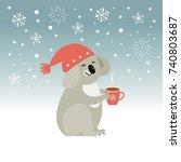 cute koala  christmas... | Shutterstock .eps vector #740803687