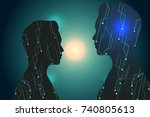 abstract  technology  with man... | Shutterstock .eps vector #740805613