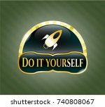 gold badge with rocket icon... | Shutterstock .eps vector #740808067