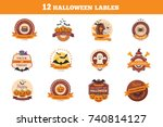 halloween stickers collection.... | Shutterstock .eps vector #740814127
