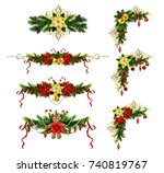 christmas decoration set with... | Shutterstock .eps vector #740819767