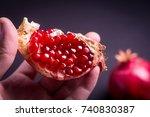 fresh pomegranate macro picture ... | Shutterstock . vector #740830387