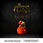 merry christmas and happy new... | Shutterstock .eps vector #740835067