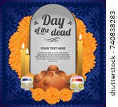 day of the dead tombstone altar ... | Shutterstock .eps vector #740838283