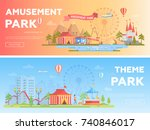 amusement park   set of modern... | Shutterstock .eps vector #740846017