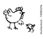 drawings of chicken with hen | Shutterstock . vector #74085256
