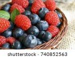 fresh organic blueberries and... | Shutterstock . vector #740852563