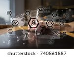 iot  automation  industry 4.0.... | Shutterstock . vector #740861887