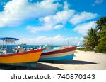 isla mujeres island caribbean... | Shutterstock . vector #740870143