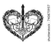 beautiful romantic skulls with... | Shutterstock .eps vector #740875957