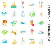 resort icons set. cartoon set... | Shutterstock .eps vector #740882587