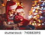 christmas eve. family mother... | Shutterstock . vector #740882893