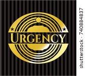 urgency golden emblem | Shutterstock .eps vector #740884837
