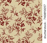 seamless floral pattern with... | Shutterstock .eps vector #740893057