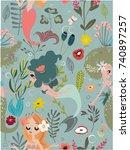 seamless pattern with cartoon... | Shutterstock .eps vector #740897257