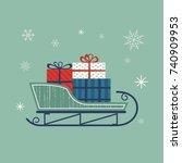 santa sleigh icon. christmas... | Shutterstock .eps vector #740909953