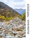 Small photo of Autumn landscape from Trans-Ili Alatau mountain chain. Kazakhstan