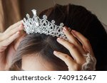 luxury wedding crown diadem on...   Shutterstock . vector #740912647