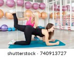 young fitn and toned woman... | Shutterstock . vector #740913727