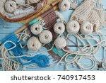 handmade macrame braiding ... | Shutterstock . vector #740917453