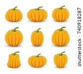 set pumpkins in different sizes ... | Shutterstock . vector #740918287