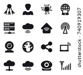 16 vector icon set   share ... | Shutterstock .eps vector #740919307